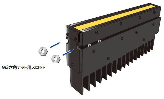 スロット式取り付け方式  M3六角ナット用スロット